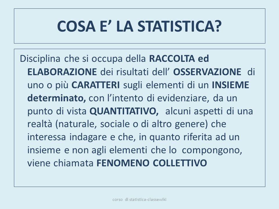 COSA E LA STATISTICA? Disciplina che si occupa della RACCOLTA ed ELABORAZIONE dei risultati dell OSSERVAZIONE di uno o più CARATTERI sugli elementi di