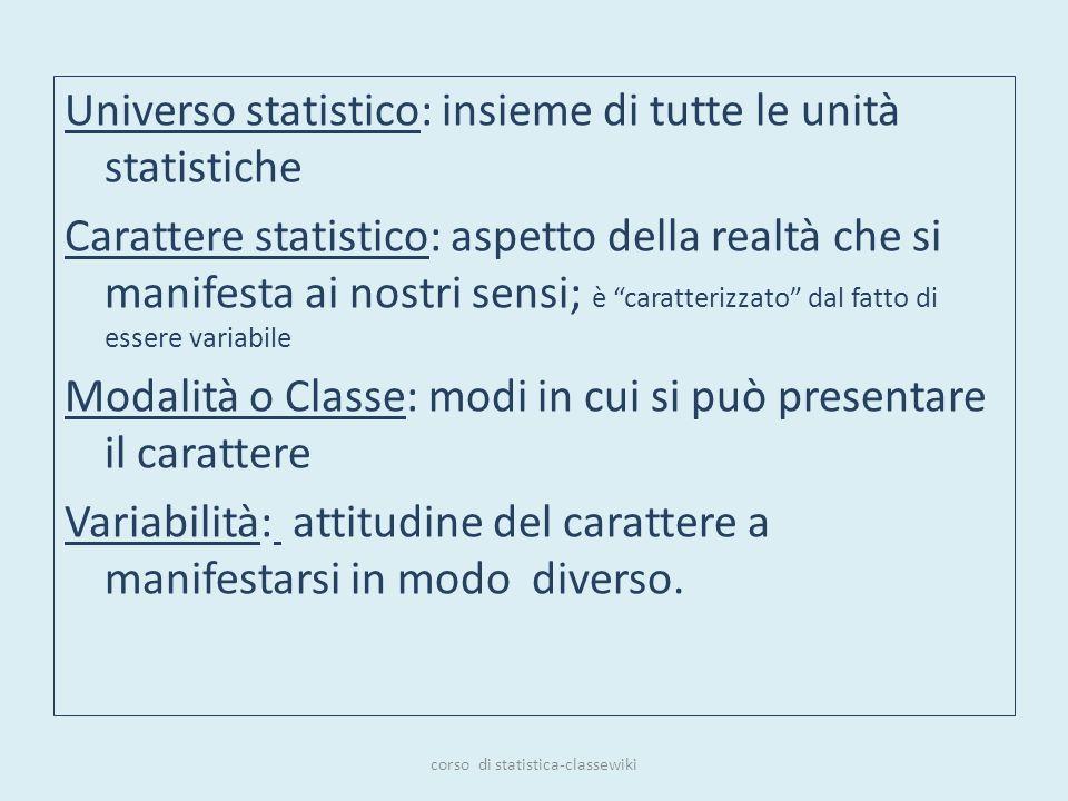 Universo statistico: insieme di tutte le unità statistiche Carattere statistico: aspetto della realtà che si manifesta ai nostri sensi; è caratterizza