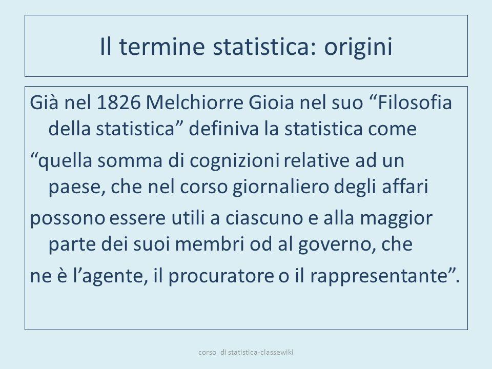 Il termine statistica: origini Già nel 1826 Melchiorre Gioia nel suo Filosofia della statistica definiva la statistica come quella somma di cognizioni