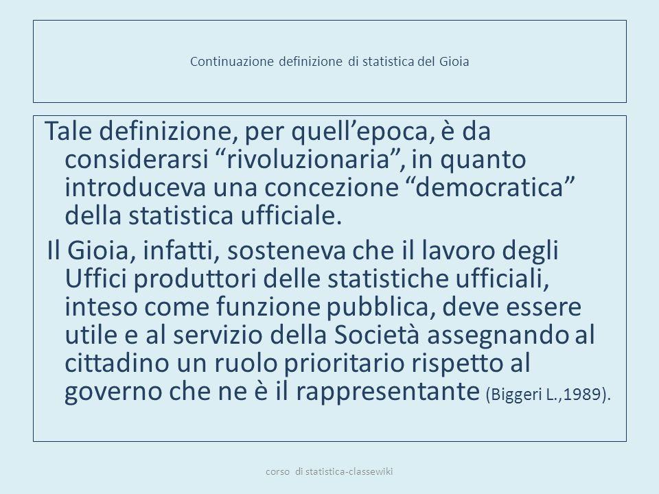 Continuazione definizione di statistica del Gioia Tale definizione, per quellepoca, è da considerarsi rivoluzionaria, in quanto introduceva una concez