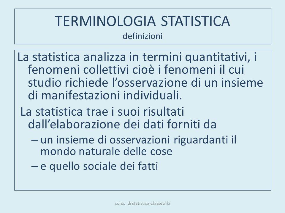 TERMINOLOGIA STATISTICA definizioni La statistica analizza in termini quantitativi, i fenomeni collettivi cioè i fenomeni il cui studio richiede losse