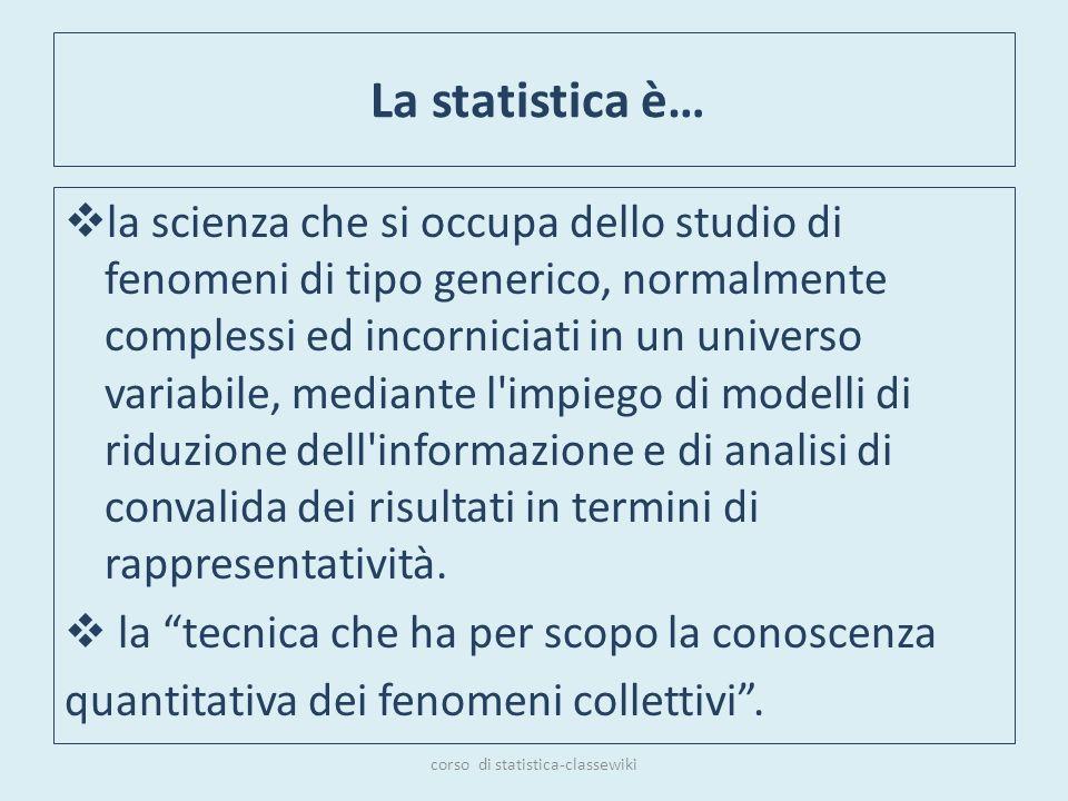 La statistica è… la scienza che si occupa dello studio di fenomeni di tipo generico, normalmente complessi ed incorniciati in un universo variabile, m