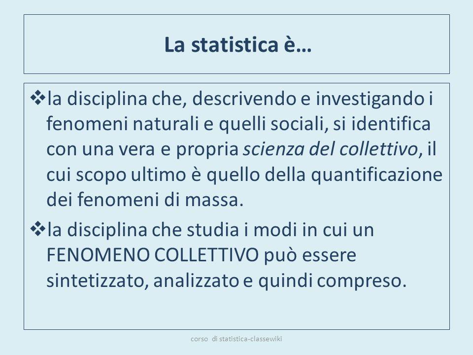 La statistica è… la disciplina che, descrivendo e investigando i fenomeni naturali e quelli sociali, si identifica con una vera e propria scienza del