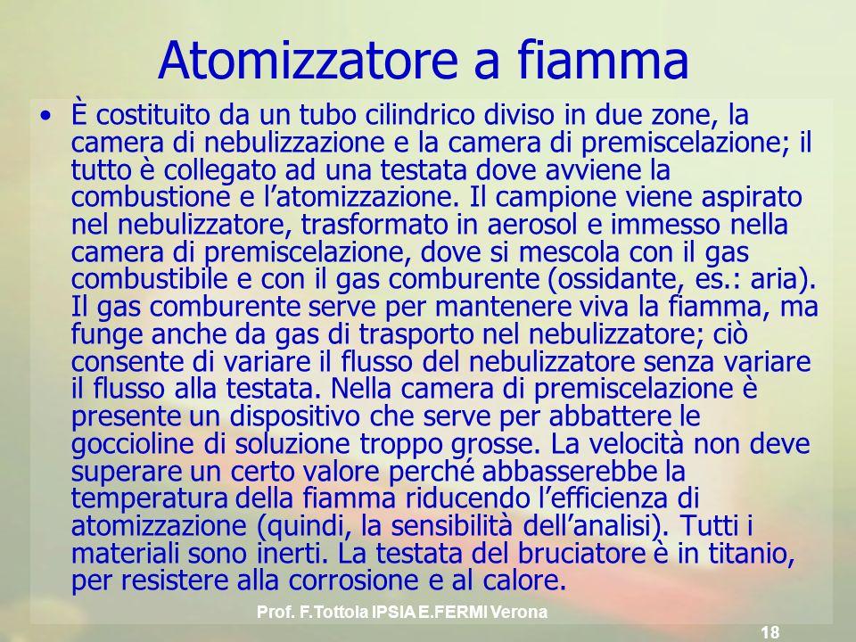 Prof. F.Tottola IPSIA E.FERMI Verona 18 È costituito da un tubo cilindrico diviso in due zone, la camera di nebulizzazione e la camera di premiscelazi