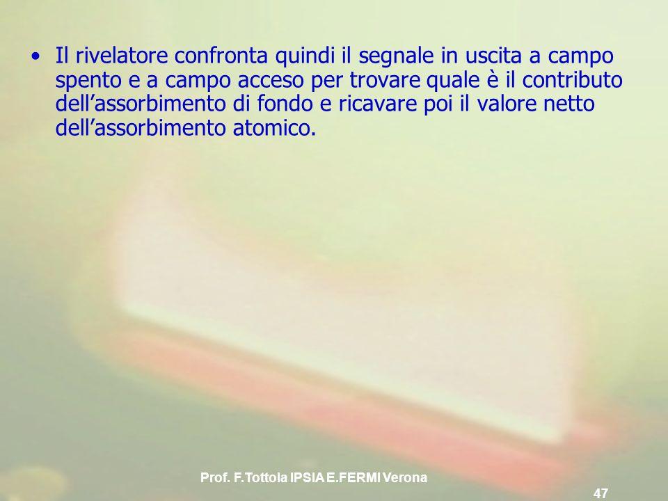 Prof. F.Tottola IPSIA E.FERMI Verona 47 Il rivelatore confronta quindi il segnale in uscita a campo spento e a campo acceso per trovare quale è il con