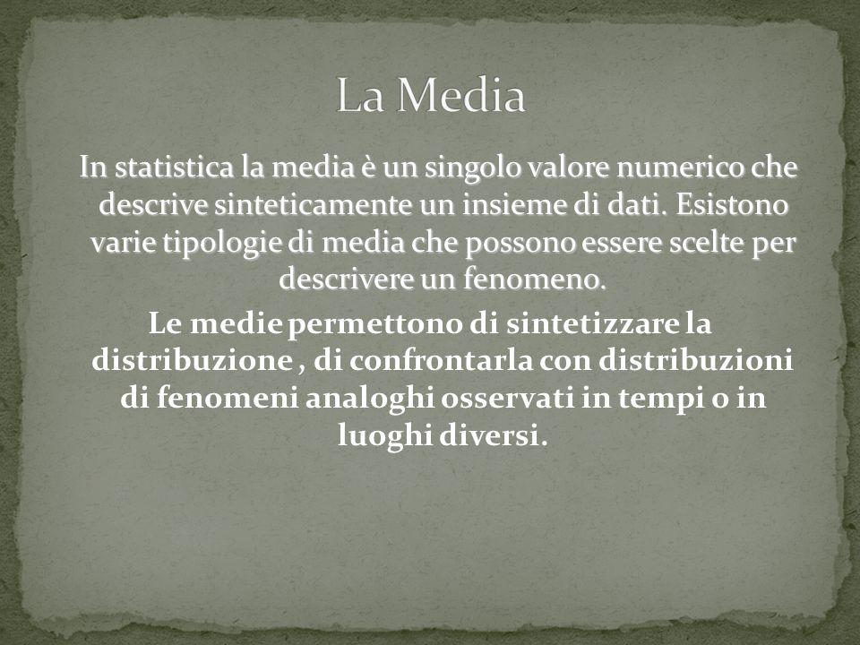 In statistica la media è un singolo valore numerico che descrive sinteticamente un insieme di dati. Esistono varie tipologie di media che possono esse