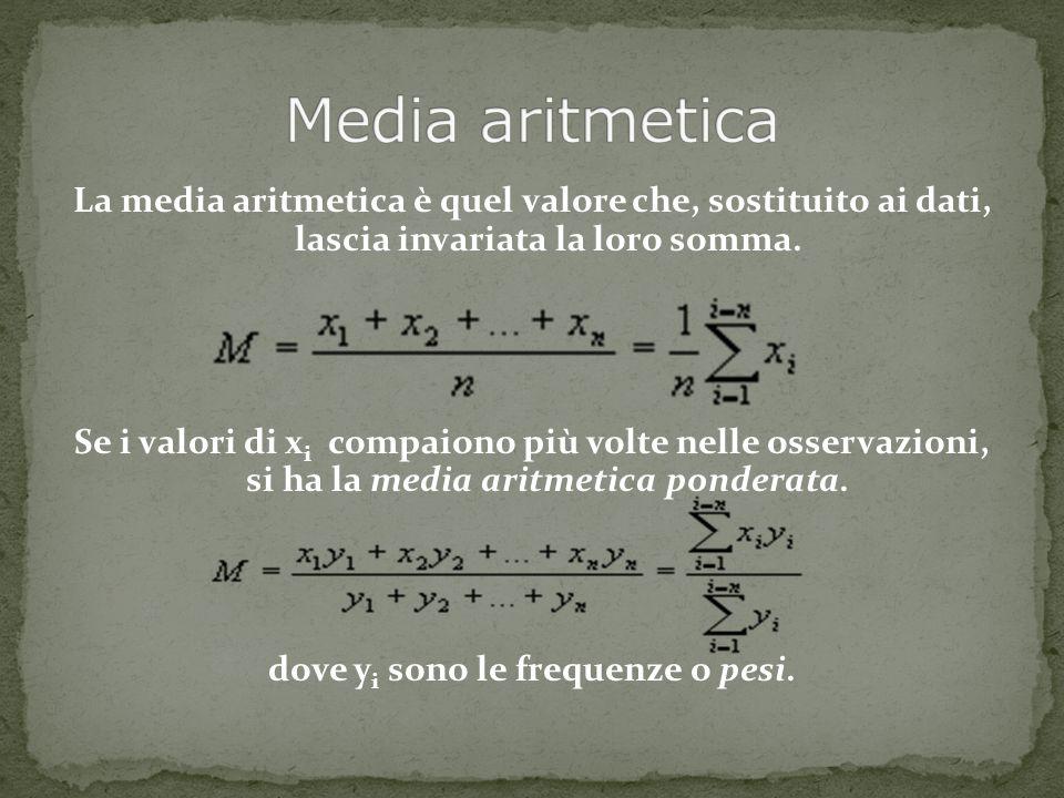 La media aritmetica è quel valore che, sostituito ai dati, lascia invariata la loro somma. Se i valori di x i compaiono più volte nelle osservazioni,