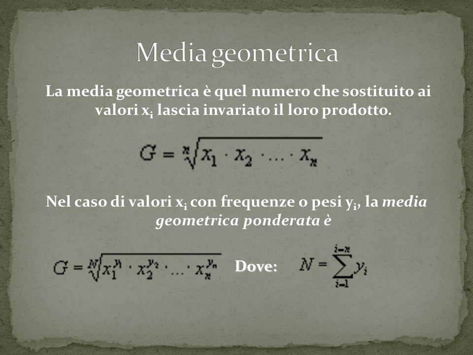 La media geometrica è quel numero che sostituito ai valori x i lascia invariato il loro prodotto. Nel caso di valori x i con frequenze o pesi y i, la