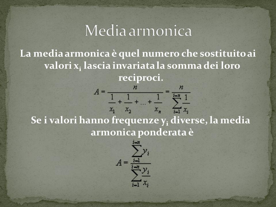 La media armonica è quel numero che sostituito ai valori x i lascia invariata la somma dei loro reciproci. Se i valori hanno frequenze y i diverse, la
