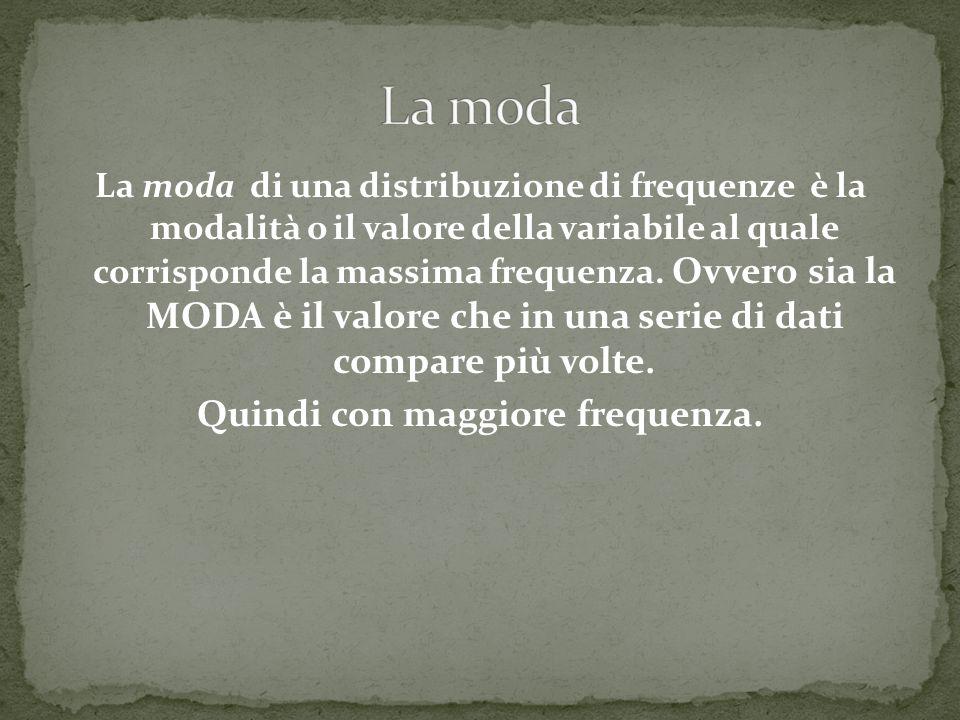 La moda di una distribuzione di frequenze è la modalità o il valore della variabile al quale corrisponde la massima frequenza. Ovvero sia la MODA è il