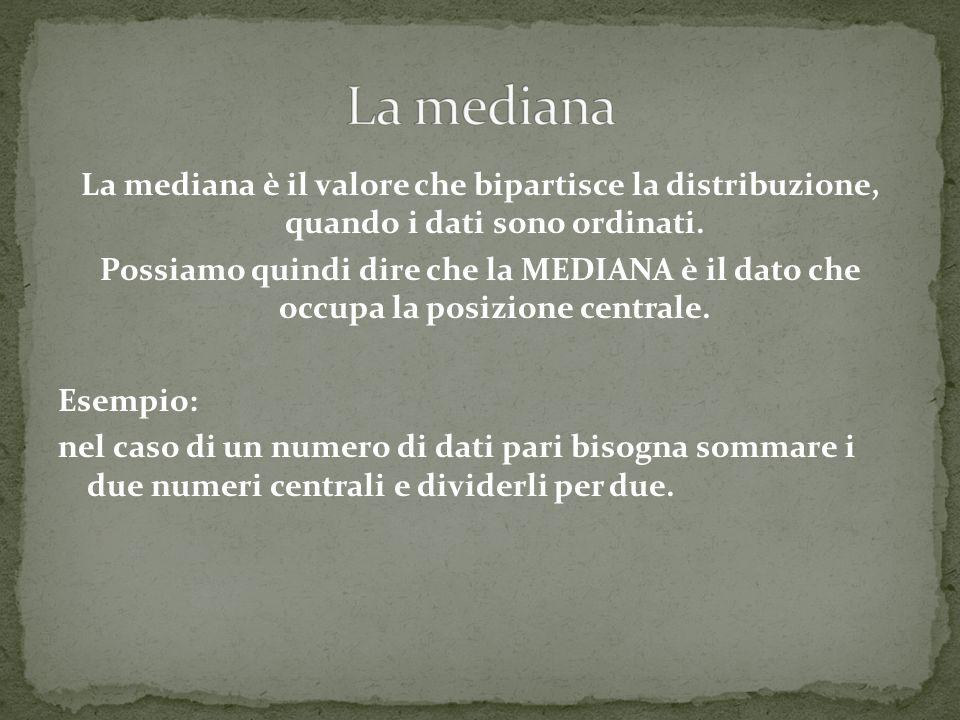 La mediana è il valore che bipartisce la distribuzione, quando i dati sono ordinati.