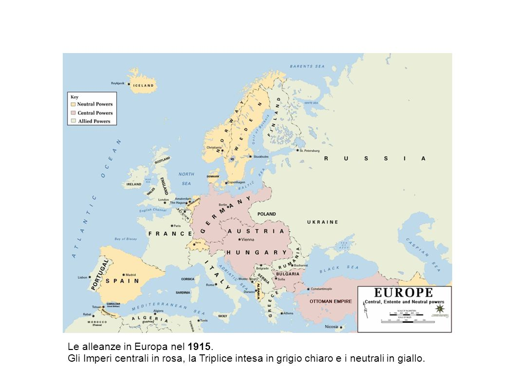 Le alleanze in Europa nel 1915. Gli Imperi centrali in rosa, la Triplice intesa in grigio chiaro e i neutrali in giallo.