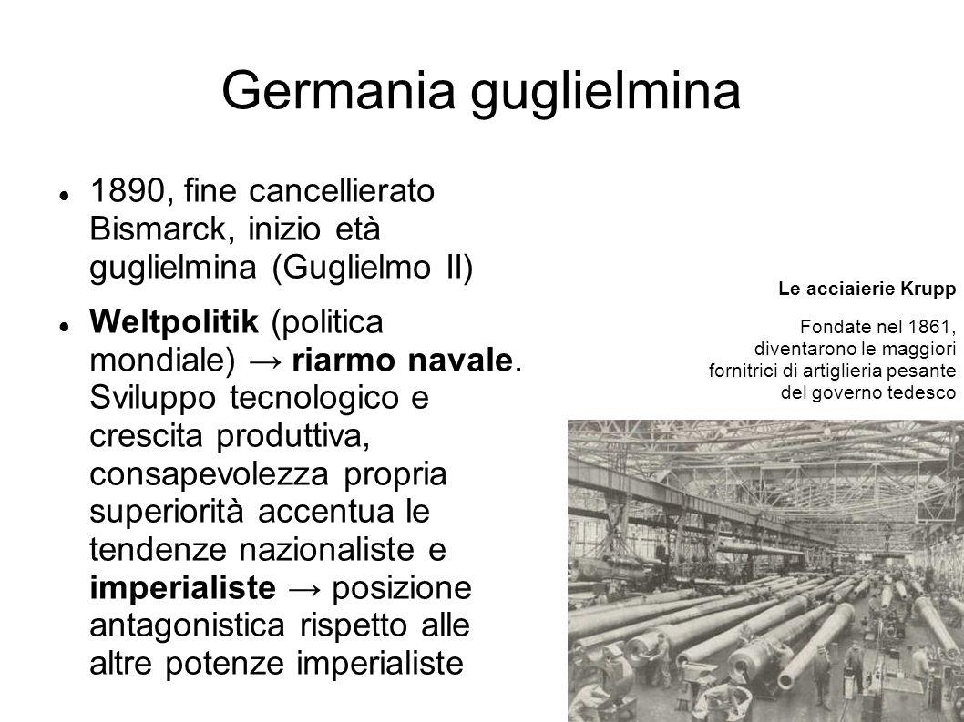 Germania guglielmina 1890, fine cancellierato Bismarck, inizio età guglielmina (Guglielmo II) Weltpolitik (politica mondiale) riarmo navale. Sviluppo