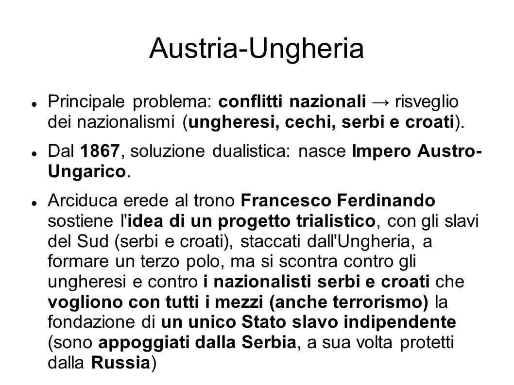 Austria-Ungheria Principale problema: conflitti nazionali risveglio dei nazionalismi (ungheresi, cechi, serbi e croati). Dal 1867, soluzione dualistic