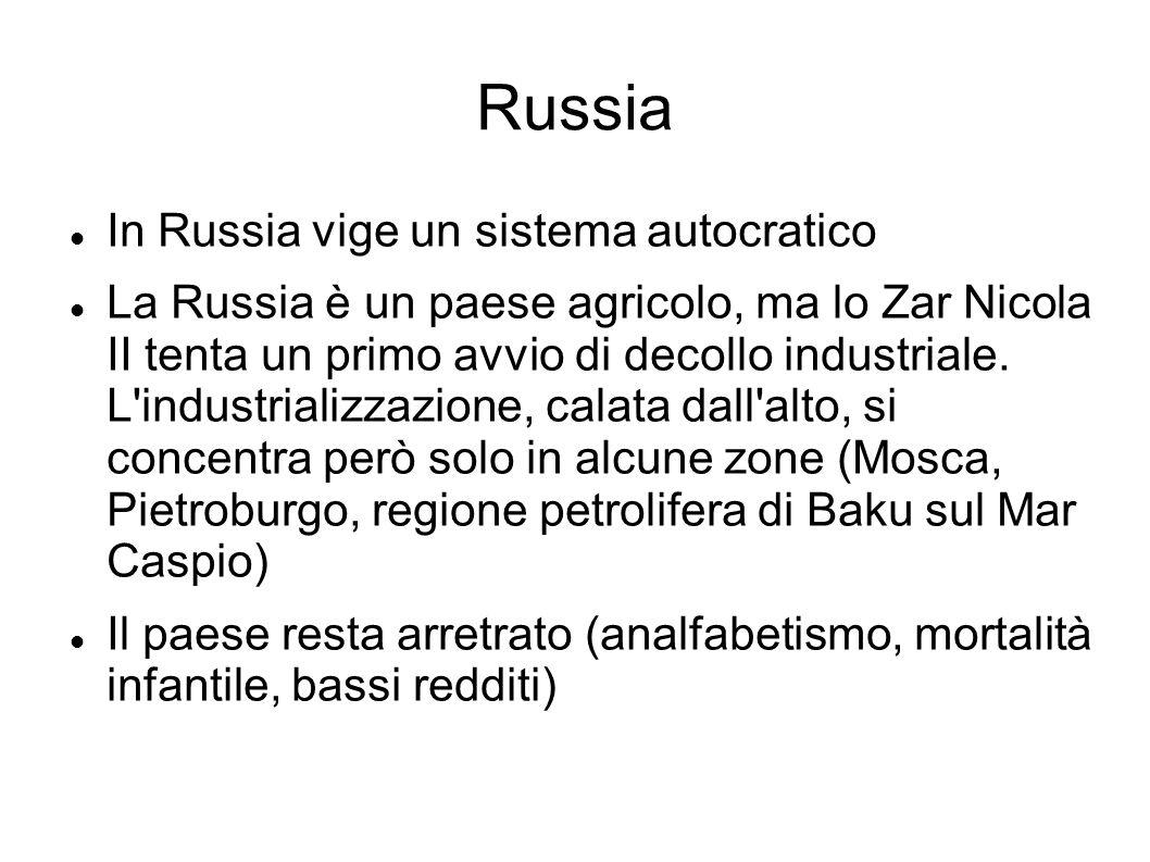 Russia In Russia vige un sistema autocratico La Russia è un paese agricolo, ma lo Zar Nicola II tenta un primo avvio di decollo industriale. L'industr