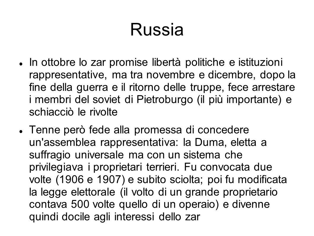 Russia In ottobre lo zar promise libertà politiche e istituzioni rappresentative, ma tra novembre e dicembre, dopo la fine della guerra e il ritorno d
