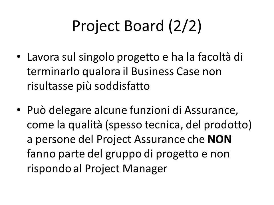 Project Board (2/2) Lavora sul singolo progetto e ha la facoltà di terminarlo qualora il Business Case non risultasse più soddisfatto Può delegare alc