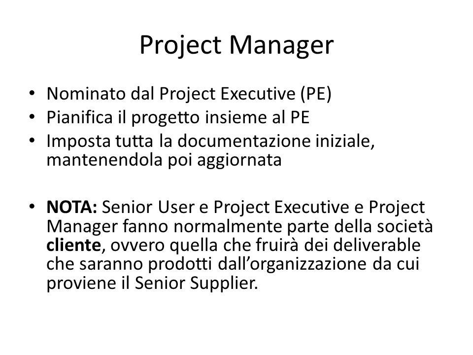Project Manager Nominato dal Project Executive (PE) Pianifica il progetto insieme al PE Imposta tutta la documentazione iniziale, mantenendola poi agg