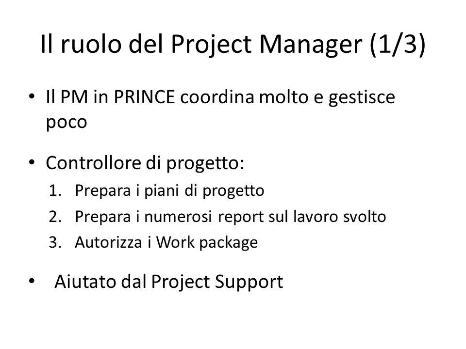 Il ruolo del Project Manager (1/3) Il PM in PRINCE coordina molto e gestisce poco Controllore di progetto: 1.Prepara i piani di progetto 2.Prepara i n
