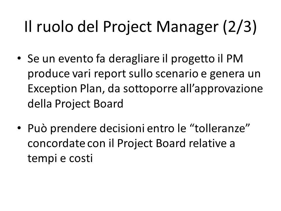 Il ruolo del Project Manager (2/3) Se un evento fa deragliare il progetto il PM produce vari report sullo scenario e genera un Exception Plan, da sott