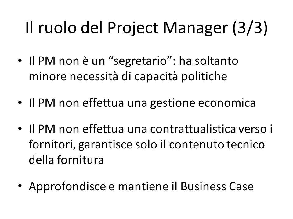 Il ruolo del Project Manager (3/3) Il PM non è un segretario: ha soltanto minore necessità di capacità politiche Il PM non effettua una gestione econo