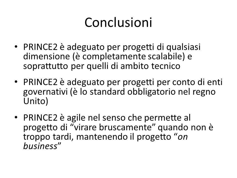 Conclusioni PRINCE2 è adeguato per progetti di qualsiasi dimensione (è completamente scalabile) e soprattutto per quelli di ambito tecnico PRINCE2 è a