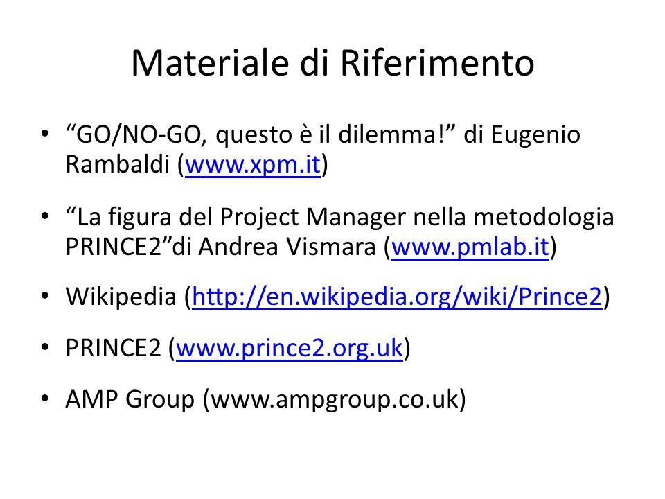 Materiale di Riferimento GO/NO-GO, questo è il dilemma! di Eugenio Rambaldi (www.xpm.it)www.xpm.it La figura del Project Manager nella metodologia PRI