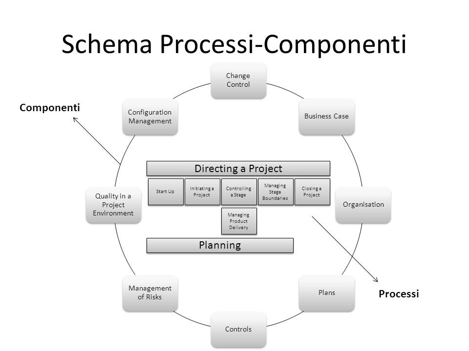 Schema Processi-Componenti Change Control Business CaseOrganisationPlansControls Management of Risks Quality in a Project Environment Configuration Ma