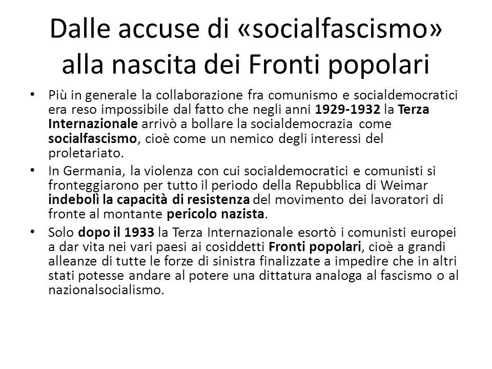Dalle accuse di «socialfascismo» alla nascita dei Fronti popolari Più in generale la collaborazione fra comunismo e socialdemocratici era reso impossi