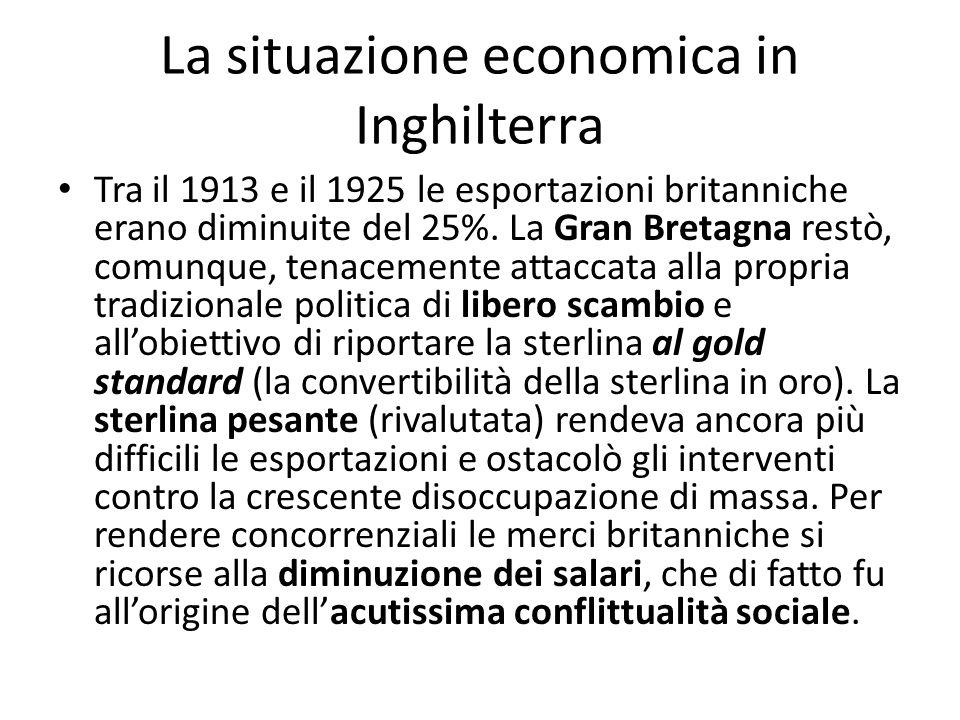 La situazione economica in Inghilterra Tra il 1913 e il 1925 le esportazioni britanniche erano diminuite del 25%. La Gran Bretagna restò, comunque, te