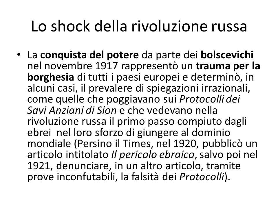 Lo shock della rivoluzione russa La conquista del potere da parte dei bolscevichi nel novembre 1917 rappresentò un trauma per la borghesia di tutti i
