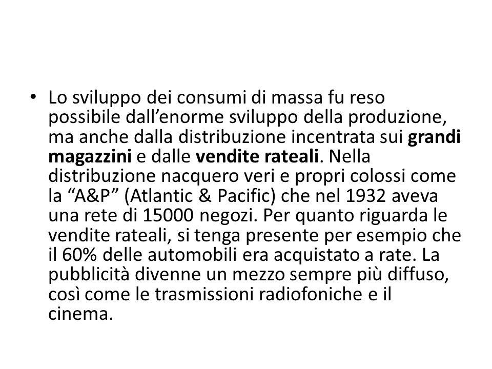 Lo sviluppo dei consumi di massa fu reso possibile dallenorme sviluppo della produzione, ma anche dalla distribuzione incentrata sui grandi magazzini