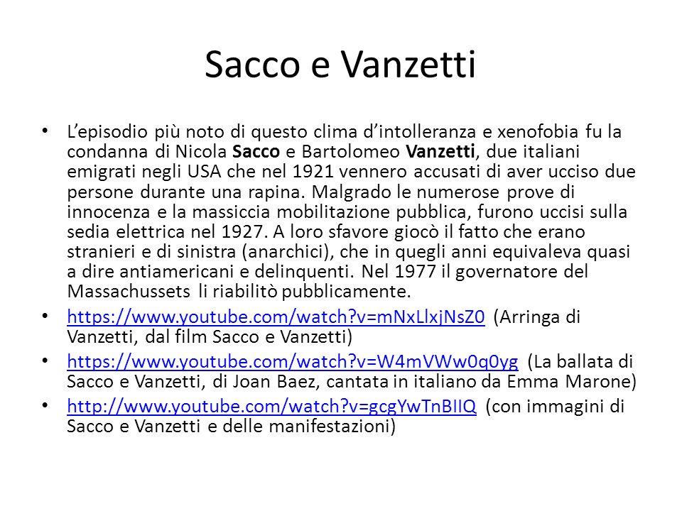 Sacco e Vanzetti Lepisodio più noto di questo clima dintolleranza e xenofobia fu la condanna di Nicola Sacco e Bartolomeo Vanzetti, due italiani emigr