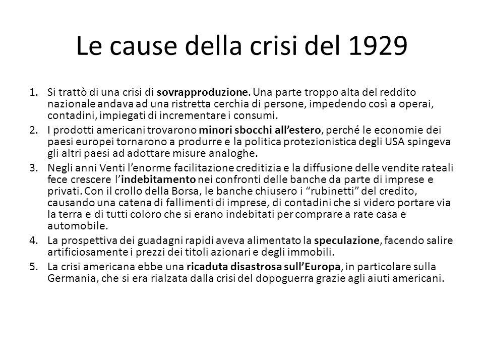 Le cause della crisi del 1929 1.Si trattò di una crisi di sovrapproduzione. Una parte troppo alta del reddito nazionale andava ad una ristretta cerchi