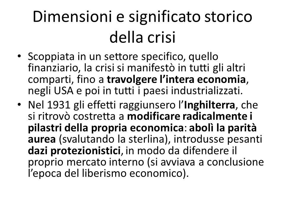 Dimensioni e significato storico della crisi Scoppiata in un settore specifico, quello finanziario, la crisi si manifestò in tutti gli altri comparti,