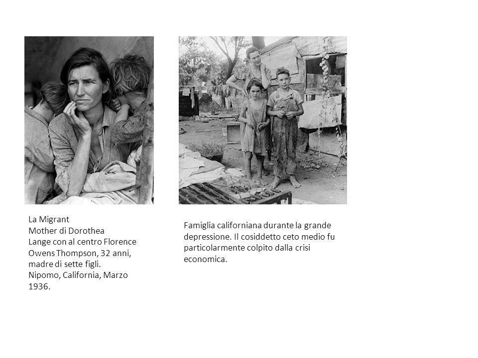 La Migrant Mother di Dorothea Lange con al centro Florence Owens Thompson, 32 anni, madre di sette figli. Nipomo, California, Marzo 1936. Famiglia cal