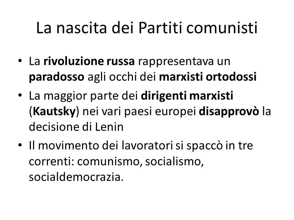 La nascita dei Partiti comunisti La rivoluzione russa rappresentava un paradosso agli occhi dei marxisti ortodossi La maggior parte dei dirigenti marx