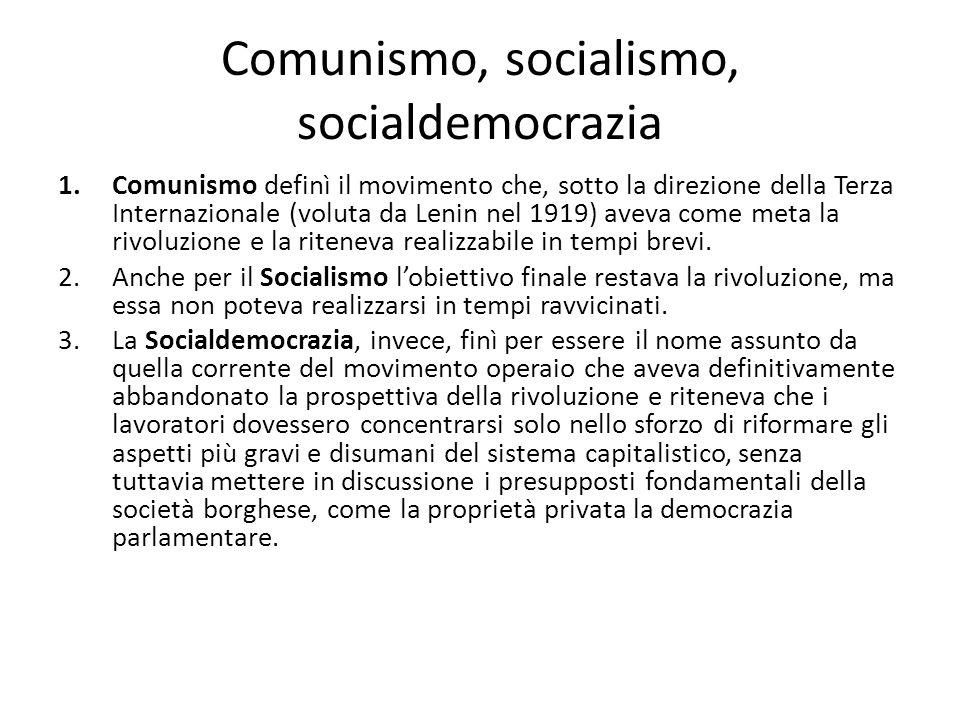 Comunismo, socialismo, socialdemocrazia 1.Comunismo definì il movimento che, sotto la direzione della Terza Internazionale (voluta da Lenin nel 1919)