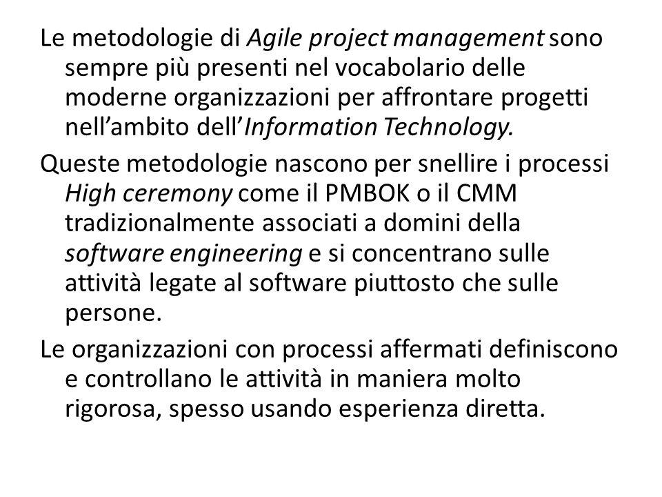 Valori dellAgile Project Mangement Comunicazione: deve essere continua, allinterno e allesterno, tra tutti gli stakeholders.
