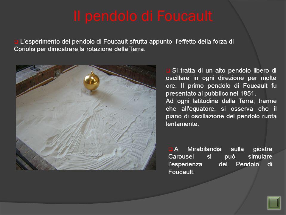 Il pendolo di Foucault Lesperimento del pendolo di Foucault sfrutta appunto l'effetto della forza di Coriolis per dimostrare la rotazione della Terra.