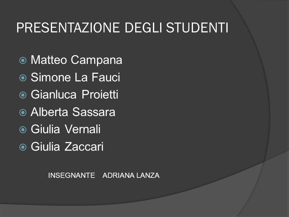 PRESENTAZIONE DEGLI STUDENTI Matteo Campana Simone La Fauci Gianluca Proietti Alberta Sassara Giulia Vernali Giulia Zaccari INSEGNANTE ADRIANA LANZA