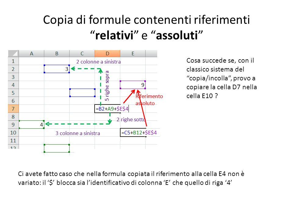Copia di formule contenenti riferimentirelativi e assoluti 5 righe sopra 2 colonne a sinistra 2 righe sotto 3 colonne a sinistra Riferimento assoluto