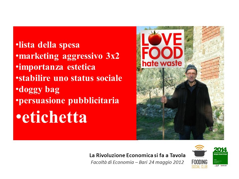 La Rivoluzione Economica si fa a Tavola Facoltà di Economia – Bari 24 maggio 2012 lista della spesa marketing aggressivo 3x2 importanza estetica stabi