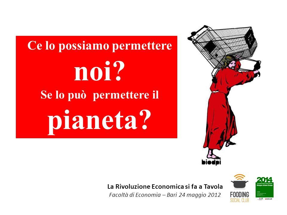 La Rivoluzione Economica si fa a Tavola Facoltà di Economia – Bari 24 maggio 2012 Ce lo possiamo permettere noi? Se lo può permettere il pianeta?