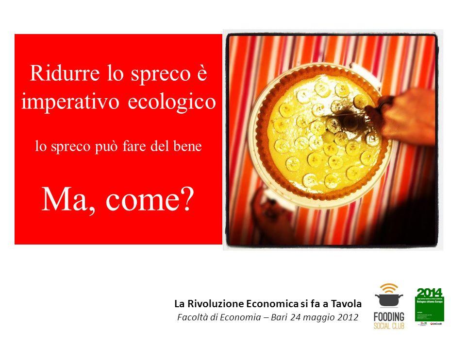 La Rivoluzione Economica si fa a Tavola Facoltà di Economia – Bari 24 maggio 2012 Ridurre lo spreco è imperativo ecologico lo spreco può fare del bene