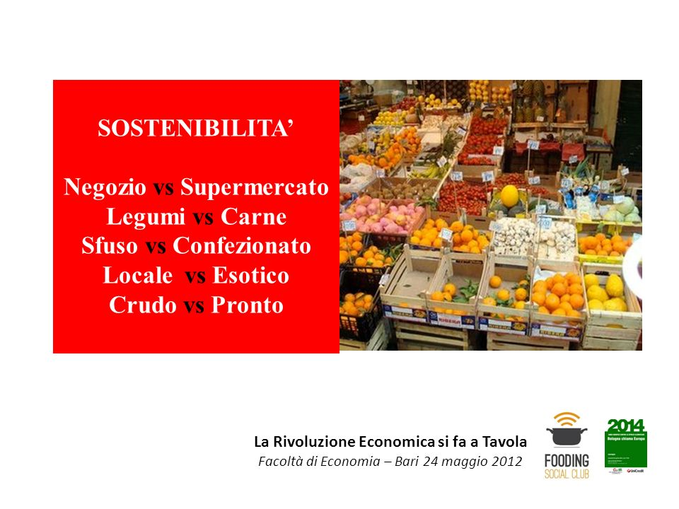 La Rivoluzione Economica si fa a Tavola Facoltà di Economia – Bari 24 maggio 2012 SOSTENIBILITA Negozio vs Supermercato Legumi vs Carne Sfuso vs Confe