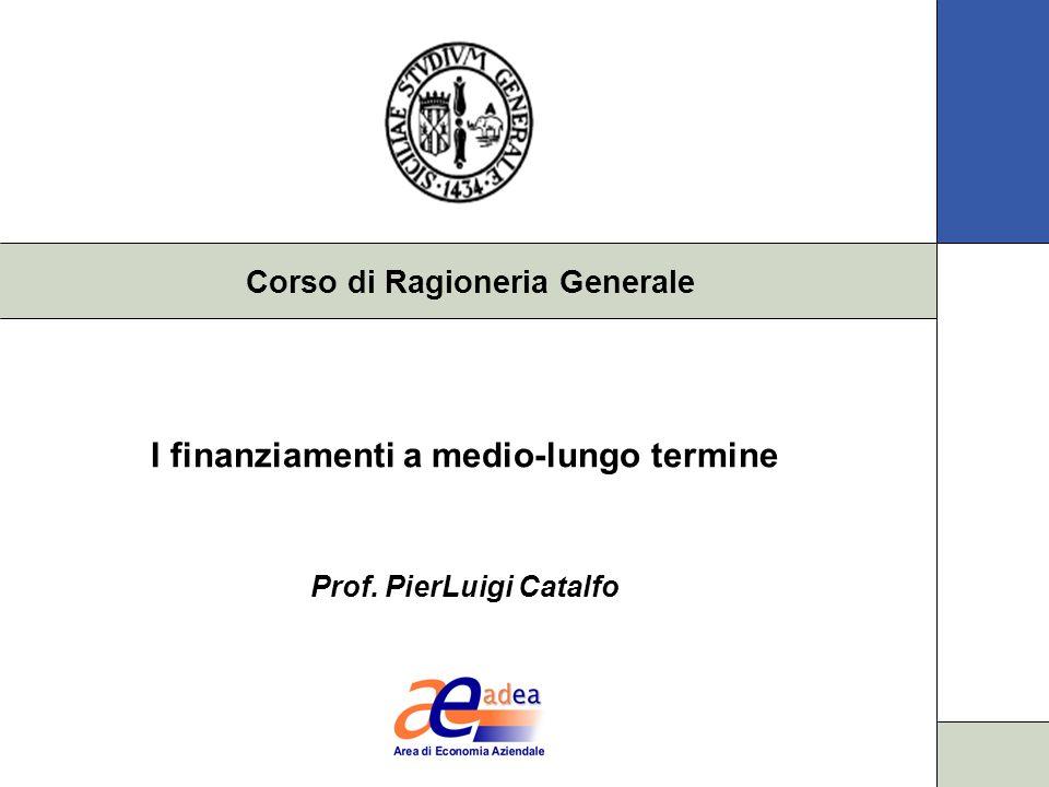 Corso di Ragioneria Generale I finanziamenti a medio-lungo termine Prof. PierLuigi Catalfo