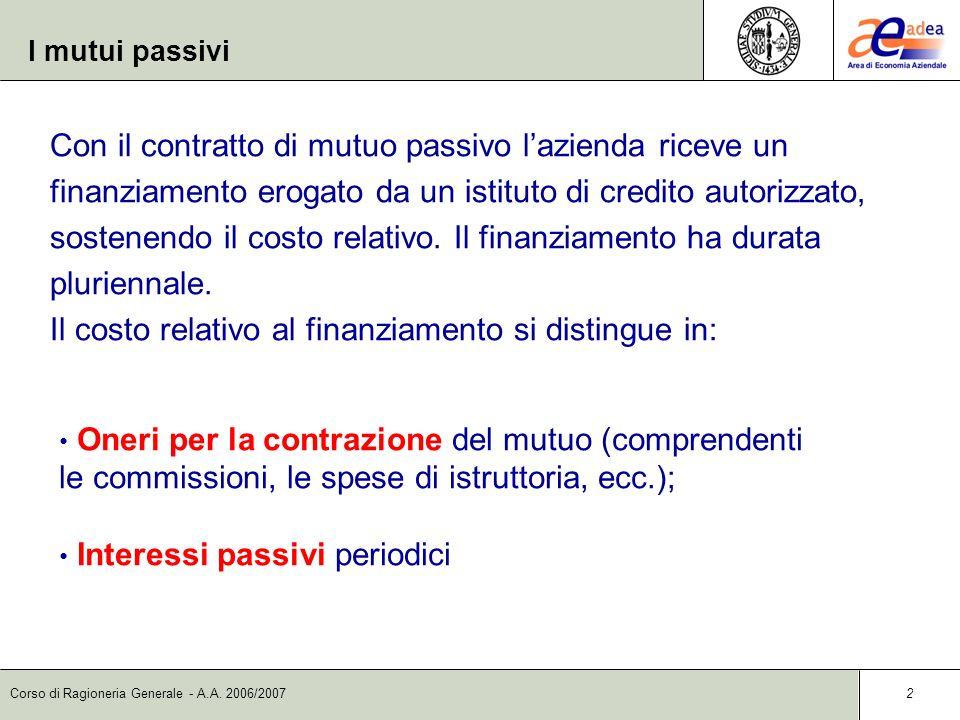 Corso di Ragioneria Generale - A.A. 2006/2007 2 I mutui passivi Con il contratto di mutuo passivo lazienda riceve un finanziamento erogato da un istit