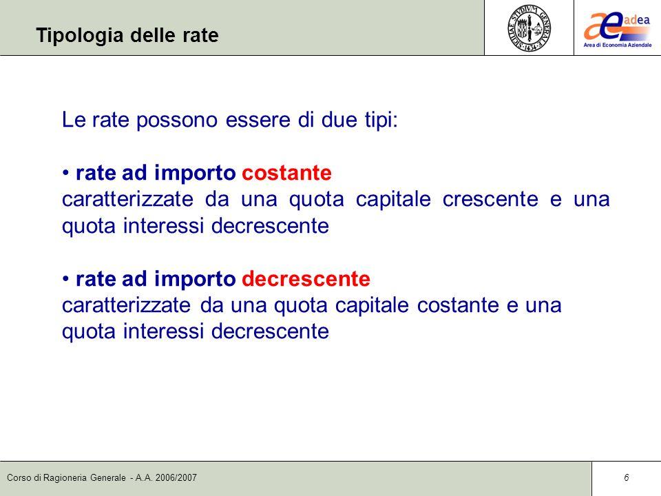 Corso di Ragioneria Generale - A.A. 2006/2007 6 Le rate possono essere di due tipi: rate ad importo costante caratterizzate da una quota capitale cres
