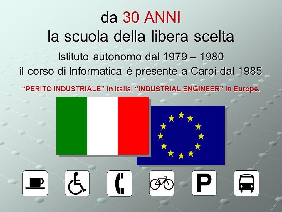 da 30 ANNI la scuola della libera scelta Istituto autonomo dal 1979 – 1980 il corso di Informatica è presente a Carpi dal 1985 PERITO INDUSTRIALE in Italia, INDUSTRIAL ENGINEER in Europe.